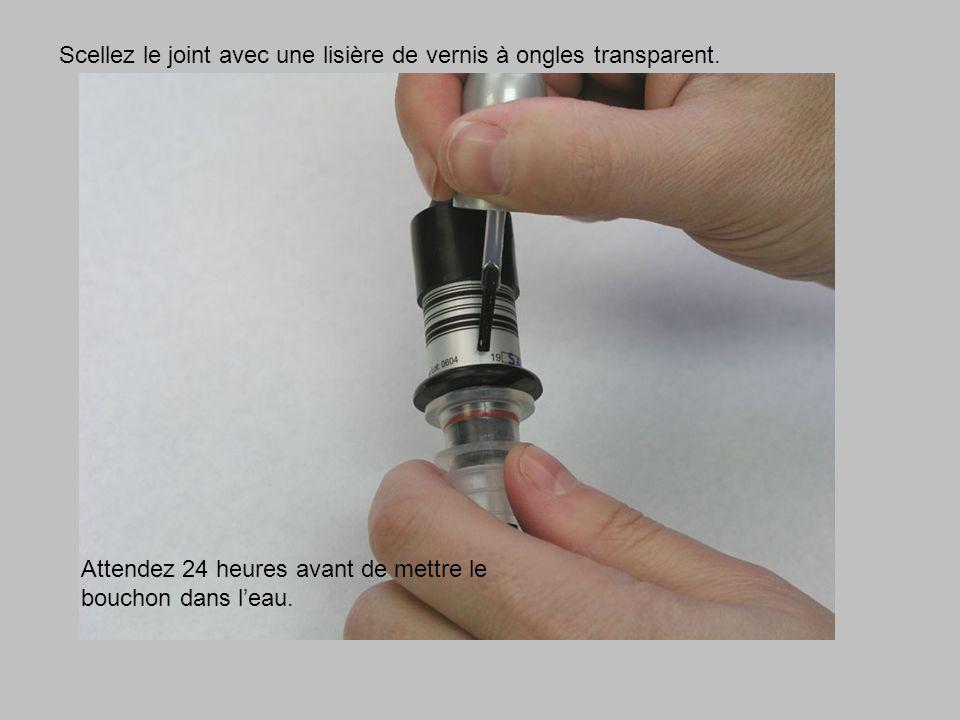 Scellez le joint avec une lisière de vernis à ongles transparent. Attendez 24 heures avant de mettre le bouchon dans leau.