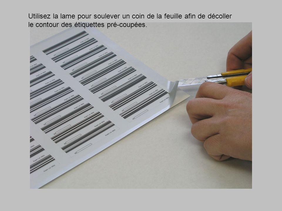 Utilisez la lame pour soulever un coin de la feuille afin de décoller le contour des étiquettes pré-coupées.