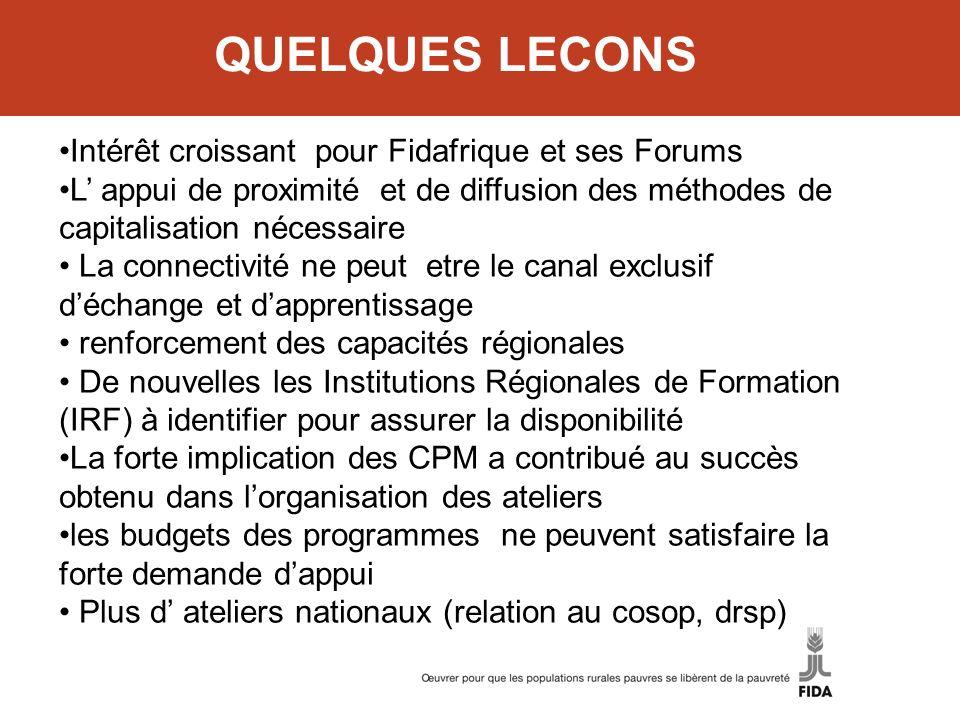 QUELQUES LECONS Intérêt croissant pour Fidafrique et ses Forums L appui de proximité et de diffusion des méthodes de capitalisation nécessaire La conn