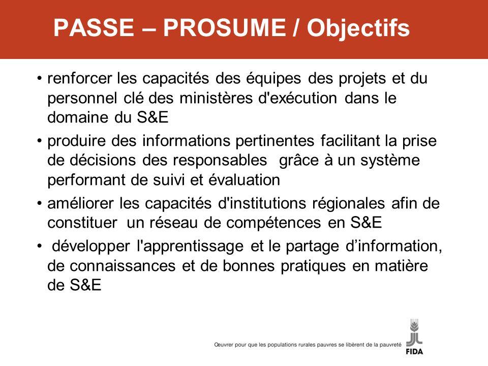 PASSE – PROSUME / Objectifs renforcer les capacités des équipes des projets et du personnel clé des ministères d'exécution dans le domaine du S&E prod