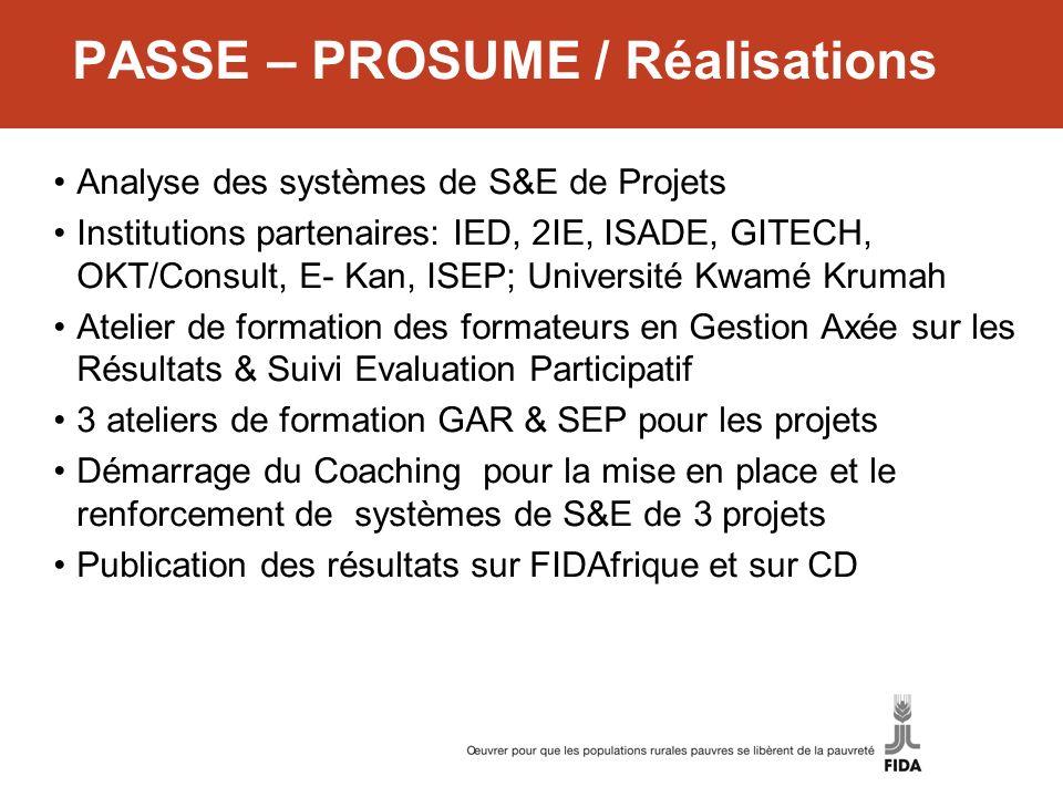 PASSE – PROSUME / Réalisations Analyse des systèmes de S&E de Projets Institutions partenaires: IED, 2IE, ISADE, GITECH, OKT/Consult, E- Kan, ISEP; Un