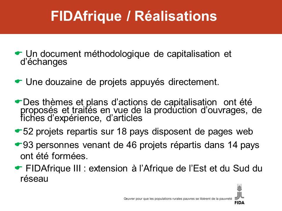 FIDAfrique / Réalisations Un document méthodologique de capitalisation et déchanges Une douzaine de projets appuyés directement. Des thèmes et plans d