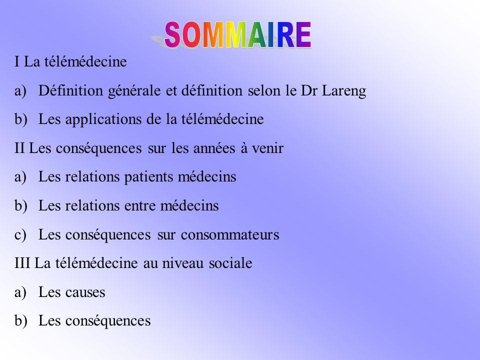 I La télémédecine a)Définition générale et définition selon le Dr Lareng b)Les applications de la télémédecine II Les conséquences sur les années à ve