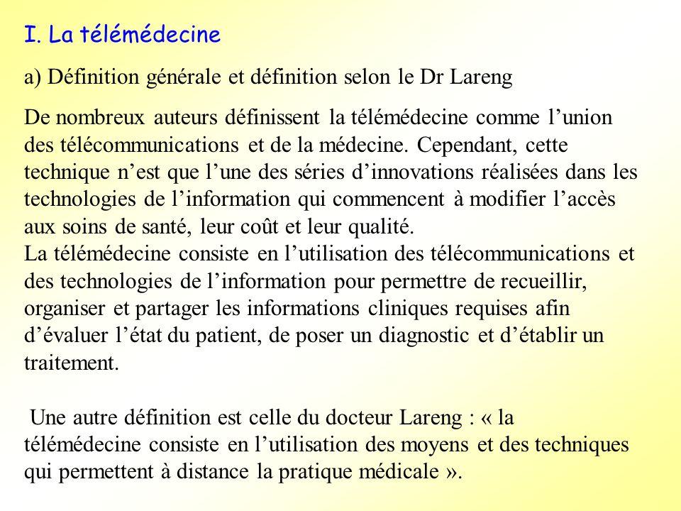 I. La télémédecine a) Définition générale et définition selon le Dr Lareng De nombreux auteurs définissent la télémédecine comme lunion des télécommun