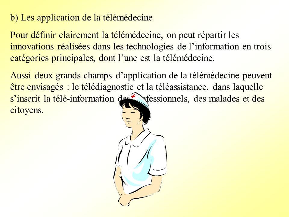 b) Les application de la télémédecine Pour définir clairement la télémédecine, on peut répartir les innovations réalisées dans les technologies de lin