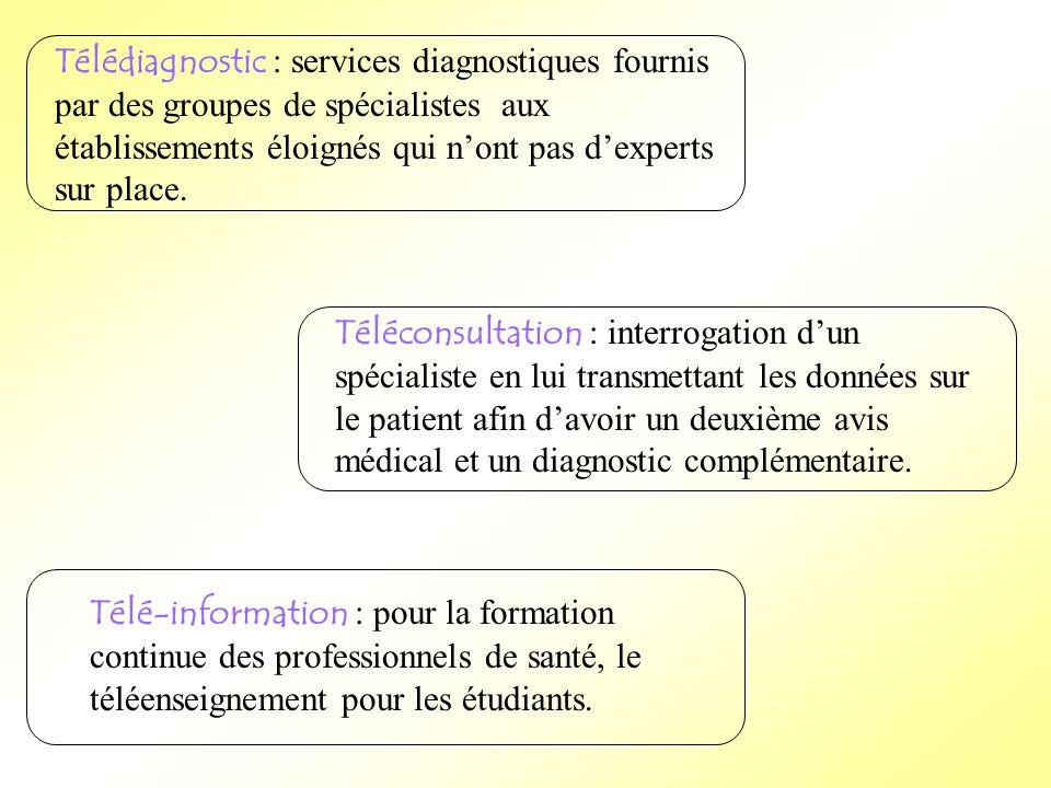 Télédiagnostic : services diagnostiques fournis par des groupes de spécialistes aux établissements éloignés qui nont pas dexperts sur place. Téléconsu