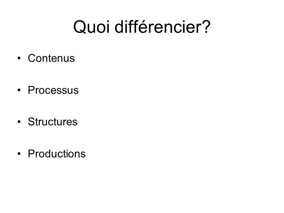 Quoi différencier Contenus Processus Structures Productions