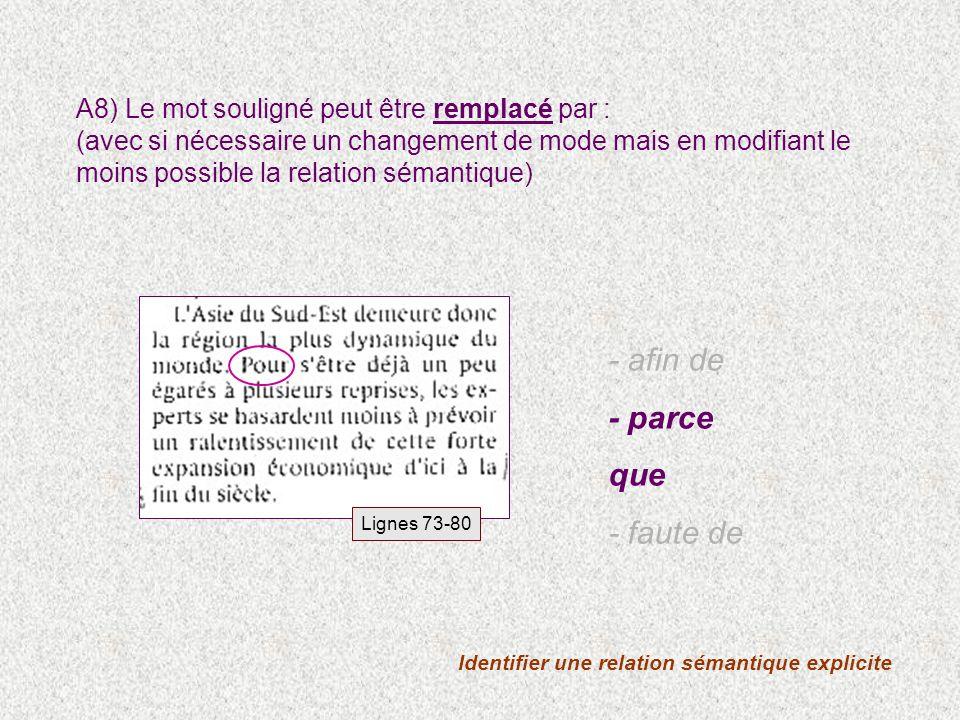Identifier une relation sémantique explicite A8) Le mot souligné peut être remplacé par : (avec si nécessaire un changement de mode mais en modifiant le moins possible la relation sémantique) - afin de - parce que - faute de Lignes 73-80