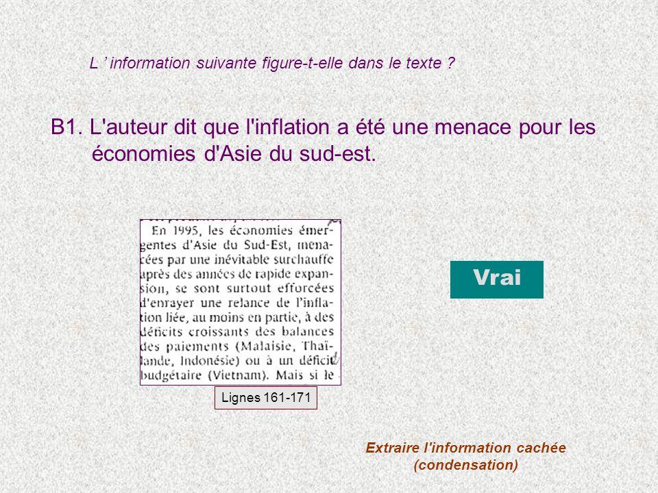 B1. L auteur dit que l inflation a été une menace pour les économies d Asie du sud-est.