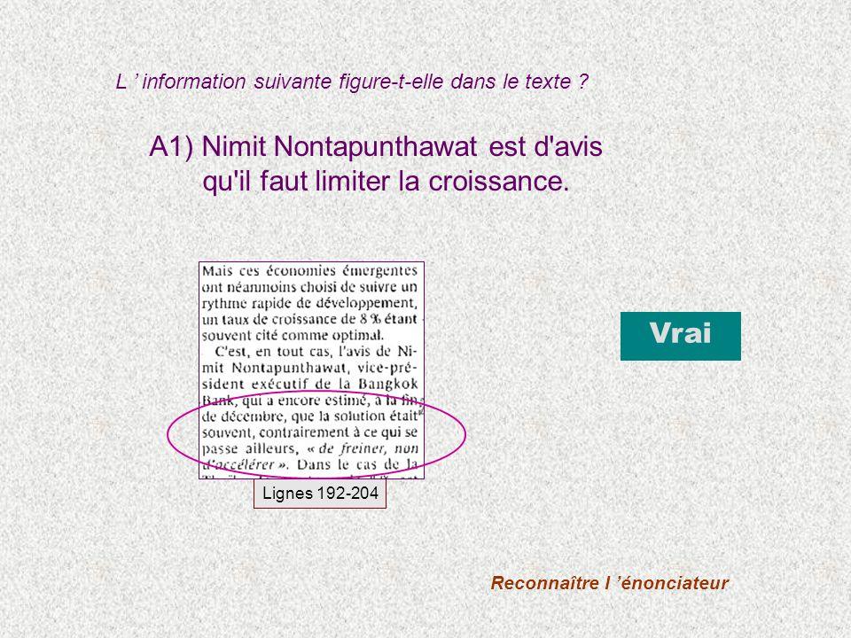 A1) Nimit Nontapunthawat est d avis qu il faut limiter la croissance.