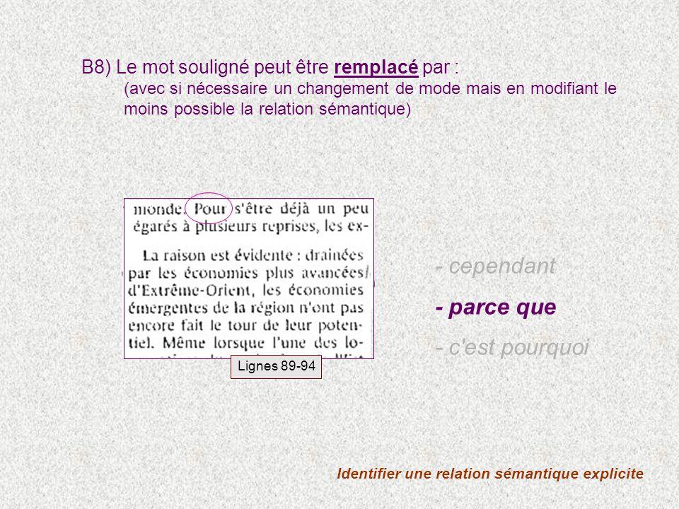 Identifier une relation sémantique explicite B8) Le mot souligné peut être remplacé par : (avec si nécessaire un changement de mode mais en modifiant le moins possible la relation sémantique) - cependant - parce que - c est pourquoi Lignes 89-94
