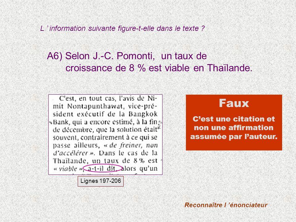 A6) Selon J.-C. Pomonti, un taux de croissance de 8 % est viable en Thaïlande.