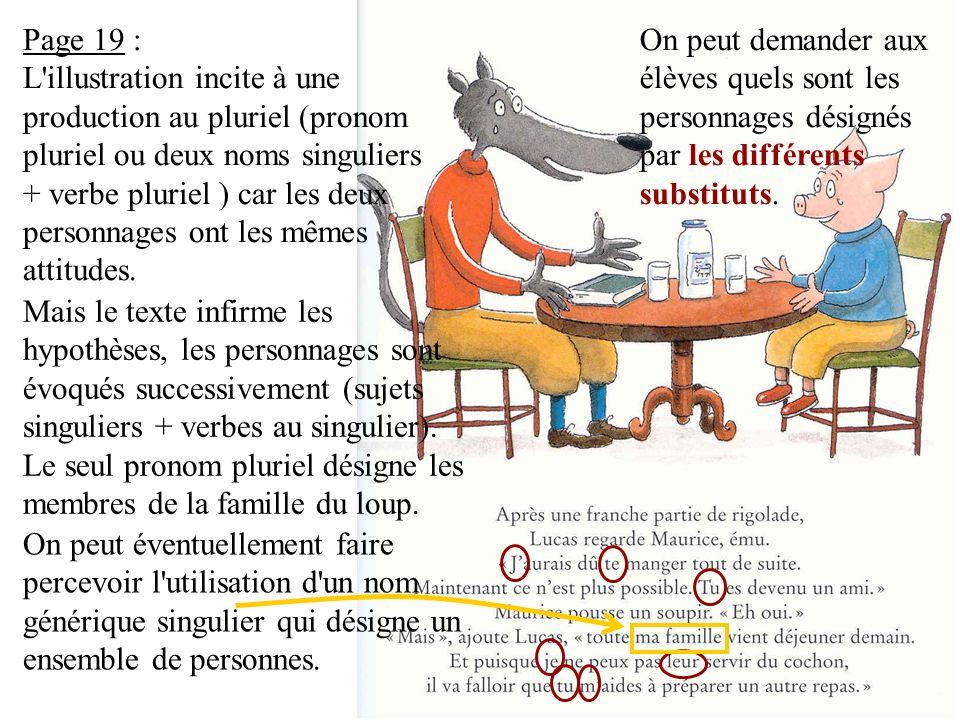 Page 19 : L illustration incite à une production au pluriel (pronom pluriel ou deux noms singuliers + verbe pluriel ) car les deux personnages ont les mêmes attitudes.