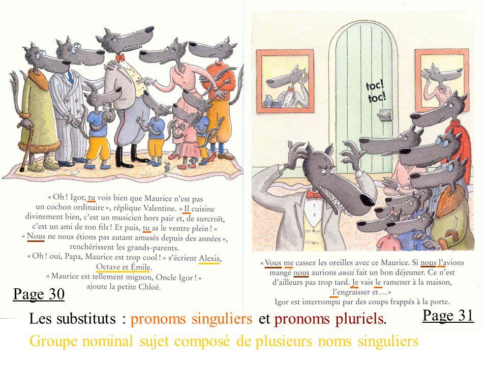 Page 30 Page 31 Les substituts : pronoms singuliers et pronoms pluriels.