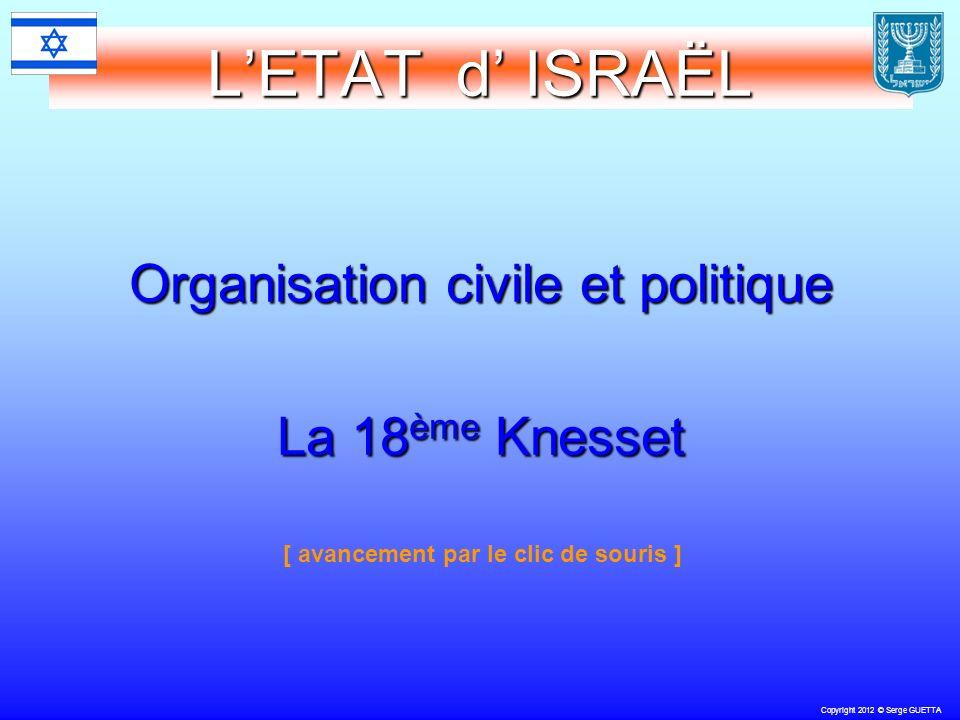 Copyright 2012 © Serge GUETTA LETAT d ISRAËL Organisation civile et politique La 18 ème Knesset [ avancement par le clic de souris ]
