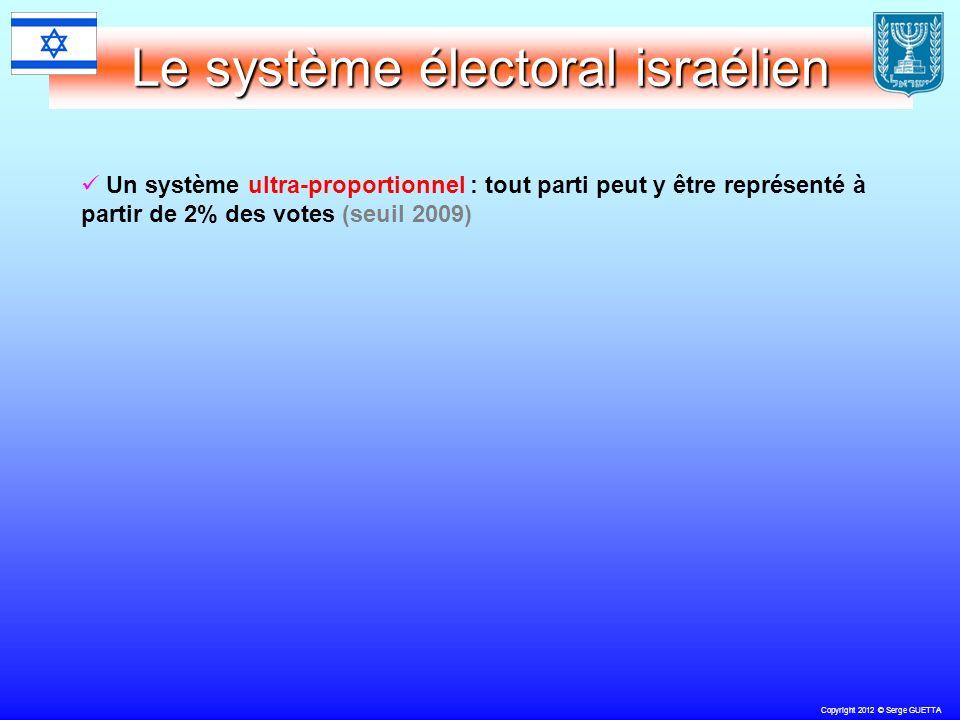 Copyright 2012 © Serge GUETTA Le système électoral israélien Un système ultra-proportionnel : tout parti peut y être représenté à partir de 2% des votes (seuil 2009)