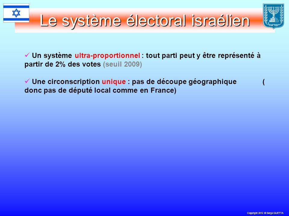 Copyright 2012 © Serge GUETTA Le système électoral israélien Un système ultra-proportionnel : tout parti peut y être représenté à partir de 2% des votes (seuil 2009) Une circonscription unique : pas de découpe géographique ( donc pas de député local comme en France)