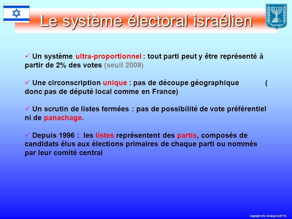 Copyright 2012 © Serge GUETTA Le système électoral israélien Un système ultra-proportionnel : tout parti peut y être représenté à partir de 2% des votes (seuil 2009) Une circonscription unique : pas de découpe géographique ( donc pas de député local comme en France) Un scrutin de listes fermées : pas de possibilité de vote préférentiel ni de panachage.
