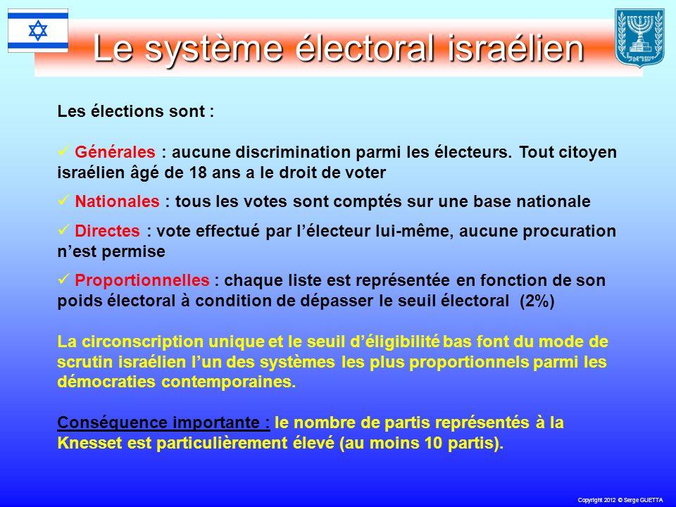 Copyright 2012 © Serge GUETTA Le système électoral israélien Les élections sont : Générales : aucune discrimination parmi les électeurs.