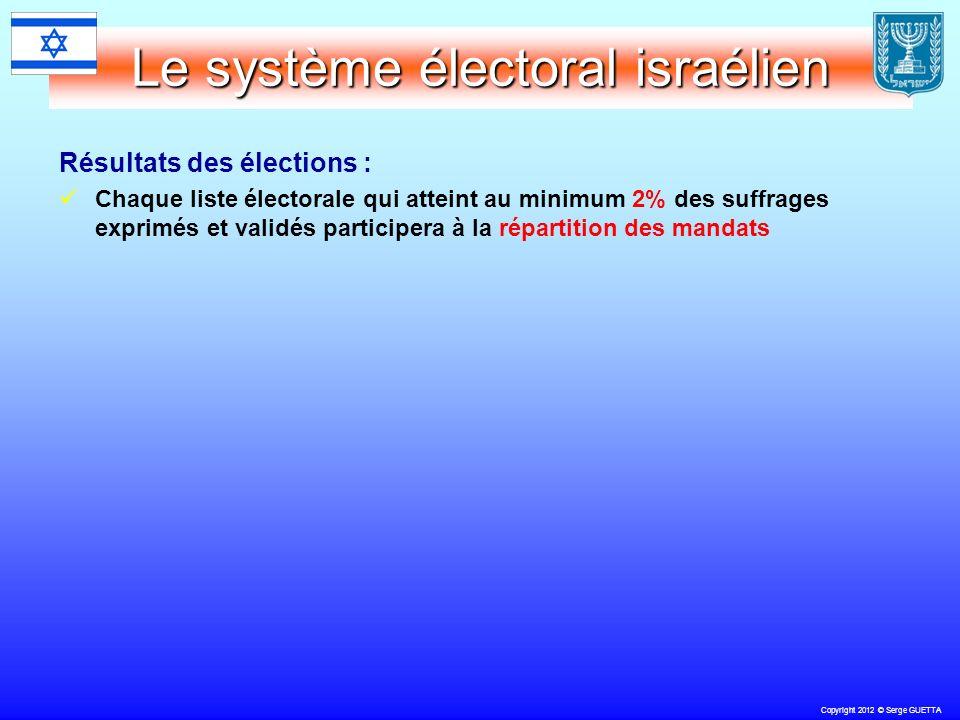 Copyright 2012 © Serge GUETTA Le système électoral israélien Résultats des élections : Chaque liste électorale qui atteint au minimum 2% des suffrages exprimés et validés participera à la répartition des mandats