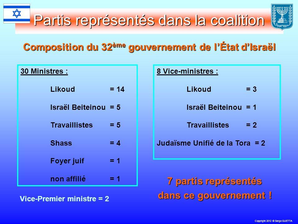 Copyright 2012 © Serge GUETTA Partis représentés dans la coalition Composition du 32 ème gouvernement de lÉtat dIsraël 30 Ministres : Likoud = 14 Israël Beiteinou = 5 Travaillistes= 5 Shass= 4 Foyer juif = 1 non affilié = 1 8 Vice-ministres : Likoud = 3 Israël Beiteinou = 1 Travaillistes= 2 Judaïsme Unifié de la Tora = 2 7 partis représentés dans ce gouvernement .