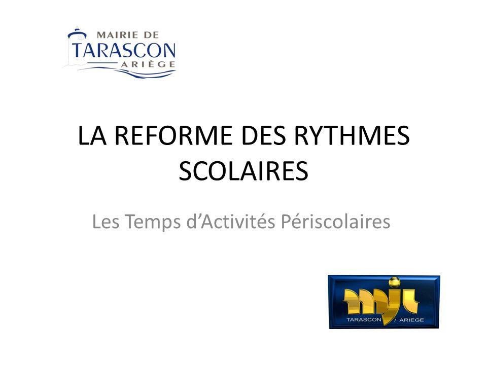 LA REFORME DES RYTHMES SCOLAIRES Les Temps dActivités Périscolaires