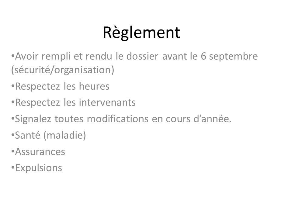 Règlement Avoir rempli et rendu le dossier avant le 6 septembre (sécurité/organisation) Respectez les heures Respectez les intervenants Signalez toutes modifications en cours dannée.
