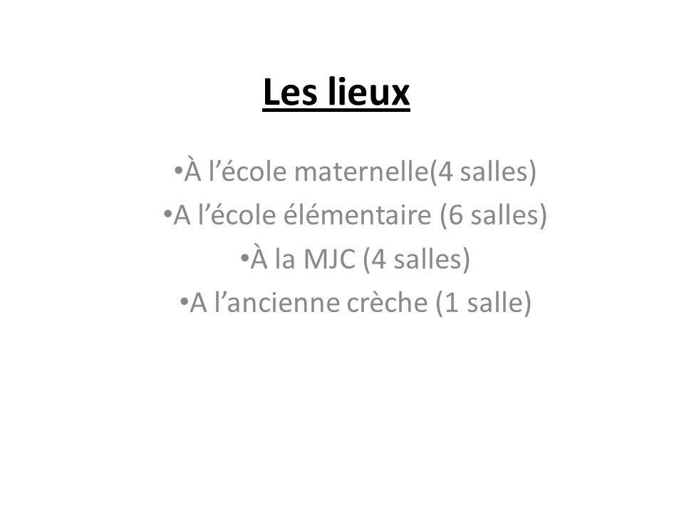 Les lieux À lécole maternelle(4 salles) A lécole élémentaire (6 salles) À la MJC (4 salles) A lancienne crèche (1 salle)