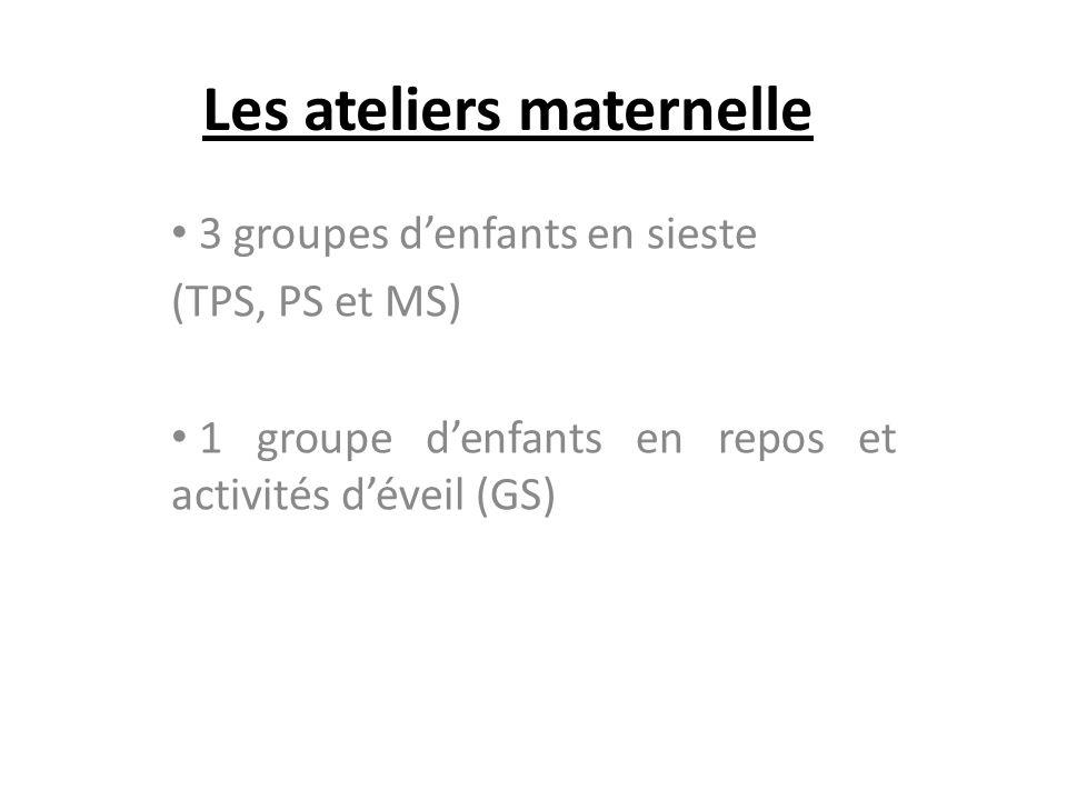 Les ateliers maternelle 3 groupes denfants en sieste (TPS, PS et MS) 1 groupe denfants en repos et activités déveil (GS)