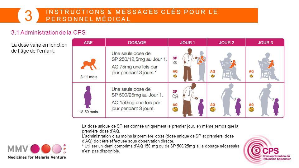 INSTRUCTIONS & MESSAGES CLÉS POUR LE PERSONNEL MÉDICAL 3 3.1 Administration de la CPS La dose varie en fonction de lâge de lenfant. La dose unique de