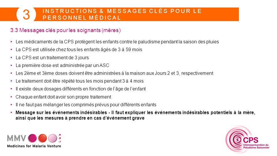 INSTRUCTIONS & MESSAGES CLÉS POUR LE PERSONNEL MÉDICAL 3 3.3 Messages clés pour les soignants (mères) Les médicaments de la CPS protègent les enfants