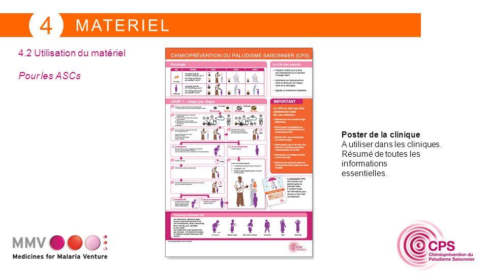 MATERIEL 4 4.2 Utilisation du matériel Pour les ASCs Poster de la clinique A utiliser dans les cliniques. Résumé de toutes les informations essentiell