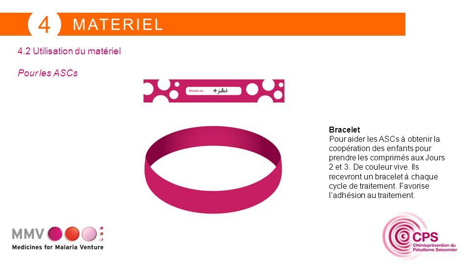 MATERIEL 4 4.2 Utilisation du matériel Pour les ASCs Bracelet Pour aider les ASCs à obtenir la coopération des enfants pour prendre les comprimés aux