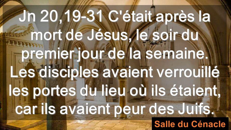 Jn 20,19-31 C était après la mort de Jésus, le soir du premier jour de la semaine.
