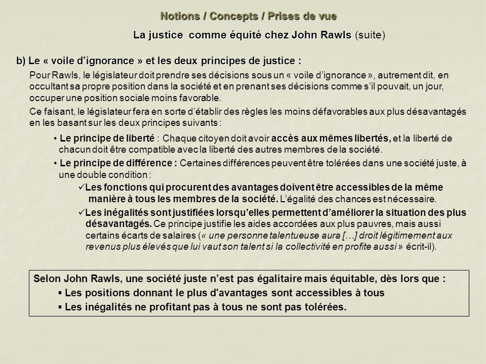 Notions / Concepts / Prises de vue Selon John Rawls, une société juste nest pas égalitaire mais équitable, dès lors que : Les positions donnant le plu