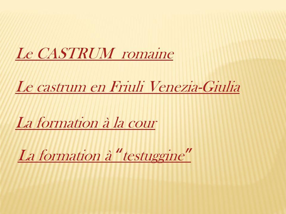 Le CASTRUM romaine La formation à testuggine La formation à la cour Le castrum en Friuli Venezia-Giulia