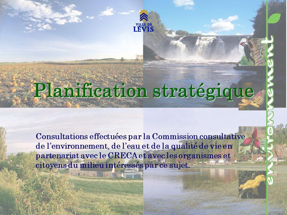 Planification stratégique Consultations effectuées par la Commission consultative de lenvironnement, de leau et de la qualité de vie en partenariat avec le CRECA et avec les organismes et citoyens du milieu intéressés par ce sujet.