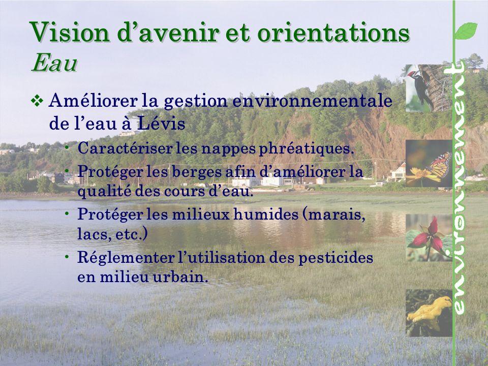 Vision davenir et orientations Eau Améliorer la gestion environnementale de leau à Lévis Caractériser les nappes phréatiques.
