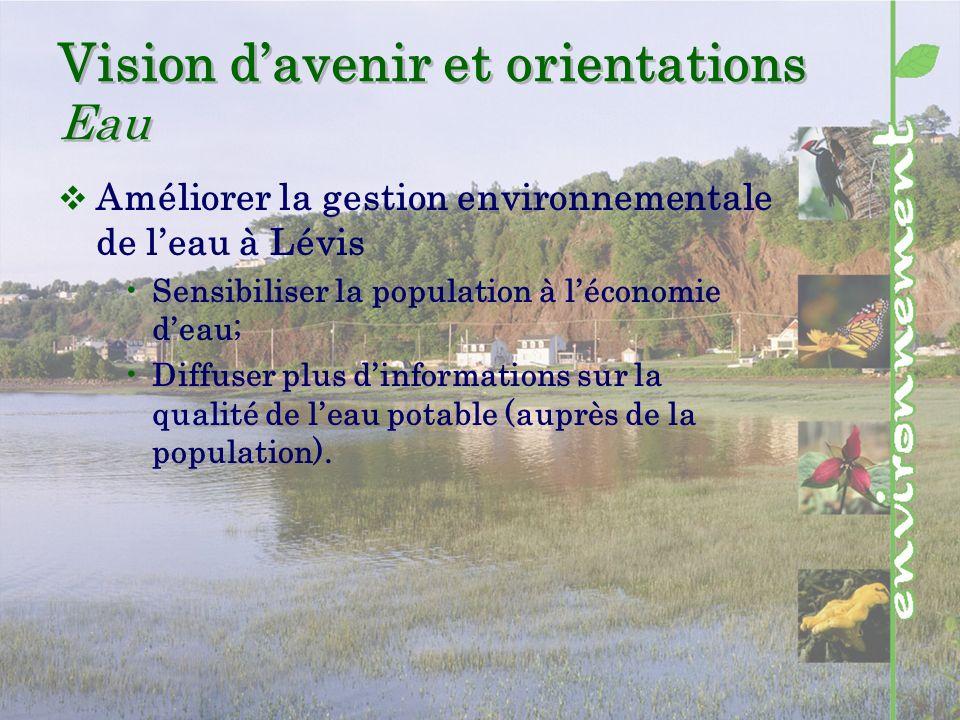 Vision davenir et orientations Eau Améliorer la gestion environnementale de leau à Lévis Sensibiliser la population à léconomie deau; Diffuser plus dinformations sur la qualité de leau potable (auprès de la population).