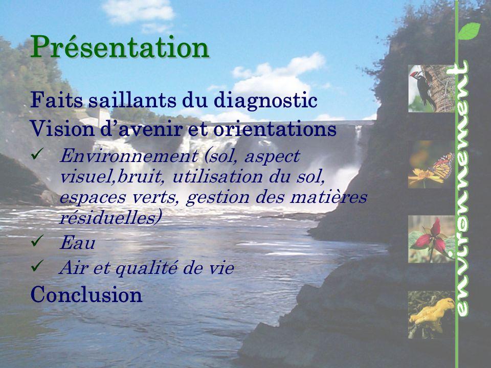 Présentation Faits saillants du diagnostic Vision davenir et orientations Environnement (sol, aspect visuel,bruit, utilisation du sol, espaces verts, gestion des matières résiduelles) Eau Air et qualité de vie Conclusion