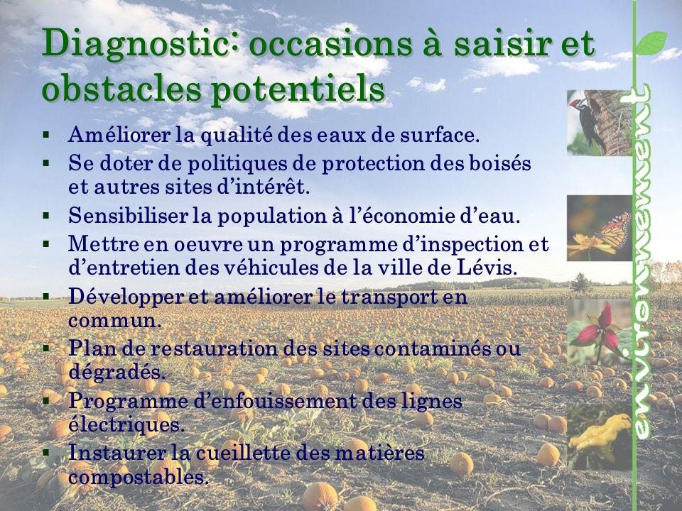 Diagnostic: occasions à saisir et obstacles potentiels Améliorer la qualité des eaux de surface.