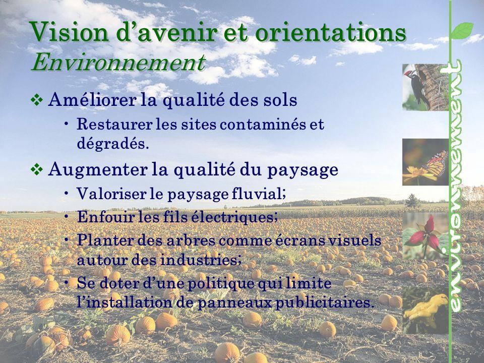 Vision davenir et orientations Environnement Améliorer la qualité des sols Restaurer les sites contaminés et dégradés.