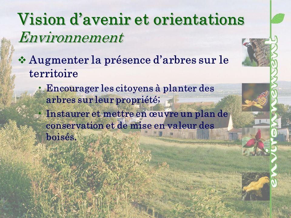 Vision davenir et orientations Environnement Augmenter la présence darbres sur le territoire Encourager les citoyens à planter des arbres sur leur propriété; Instaurer et mettre en œuvre un plan de conservation et de mise en valeur des boisés.