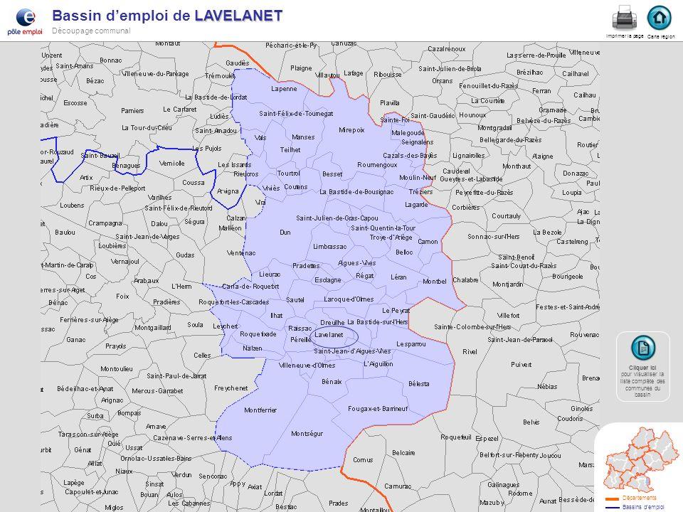 LAVELANET Bassin demploi de LAVELANET Découpage communal lavelanet Carte région Imprimer la page Cliquer ici Cliquer ici pour visualiser la liste comp