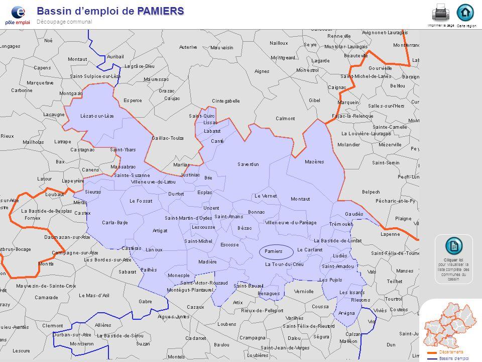 PAMIERS Bassin demploi de PAMIERS Découpage communal pamiers Carte région Imprimer la page Cliquer ici Cliquer ici pour visualiser la liste complète d