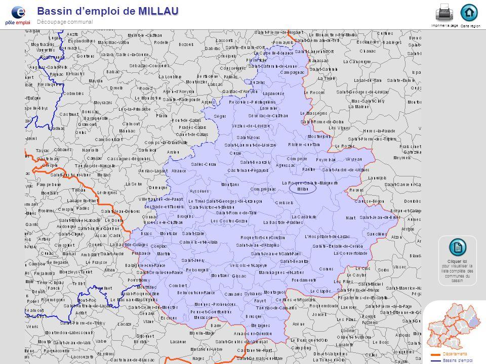 MILLAU Bassin demploi de MILLAU Découpage communal millau Carte région Imprimer la page Cliquer ici Cliquer ici pour visualiser la liste complète des