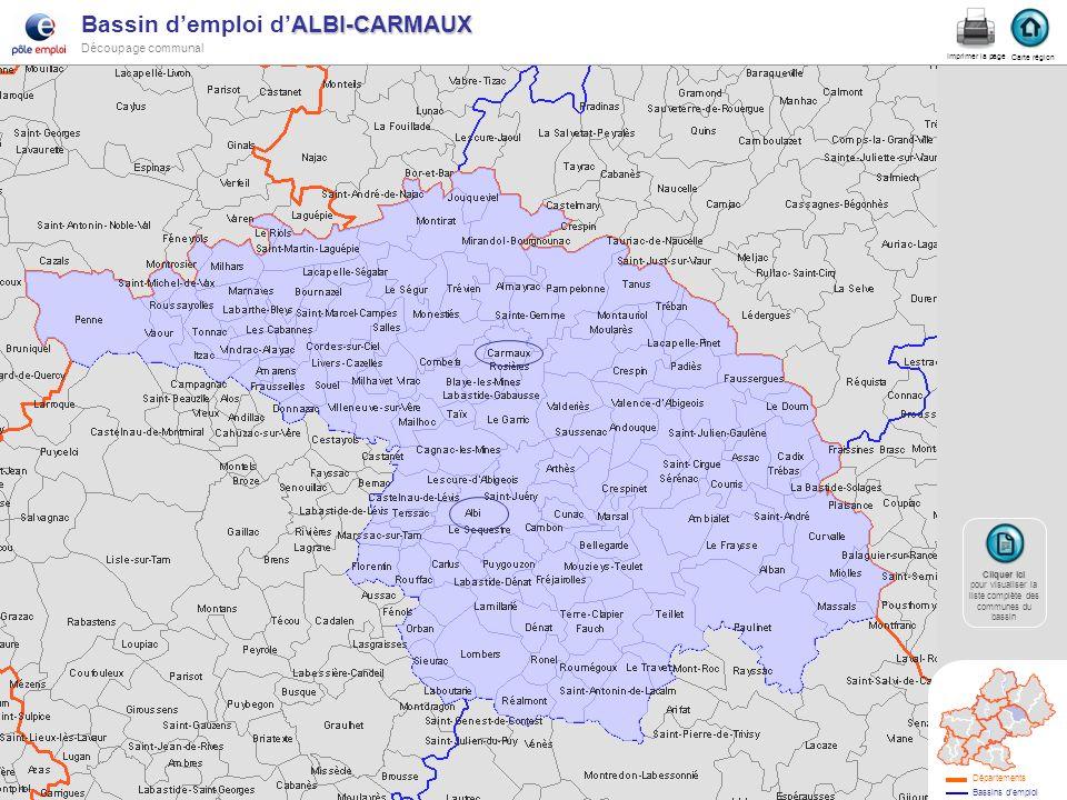ALBI-CARMAUX Bassin demploi dALBI-CARMAUX Découpage communal Albi-carmaux Carte région Imprimer la page Cliquer ici Cliquer ici pour visualiser la lis