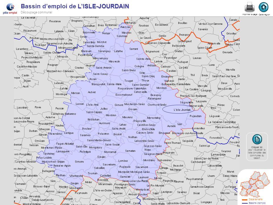 LISLE-JOURDAIN Bassin demploi de LISLE-JOURDAIN Découpage communal Isle jourdain Carte région Imprimer la page Cliquer ici Cliquer ici pour visualiser