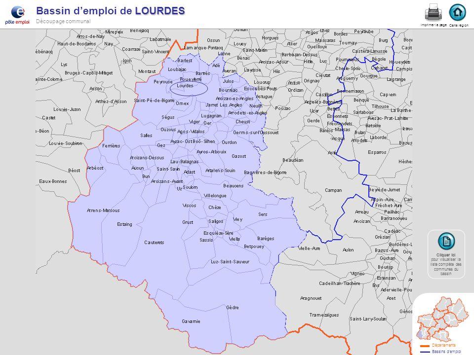 LOURDES Bassin demploi de LOURDES Découpage communal lourdes Carte région Imprimer la page Cliquer ici Cliquer ici pour visualiser la liste complète d