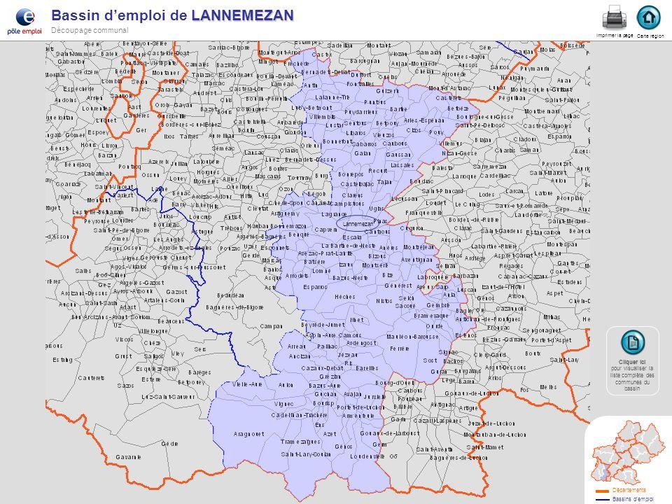 Lannemezan LANNEMEZAN Bassin demploi de LANNEMEZAN Découpage communal lannemezan Carte région Imprimer la page Cliquer ici Cliquer ici pour visualiser